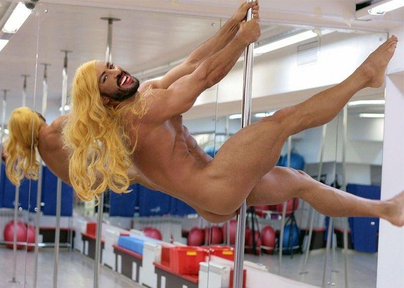 Павел Петель Фото (Pavel Petel Photo) шоумен, фрики, мужчина с бородой в женском трико