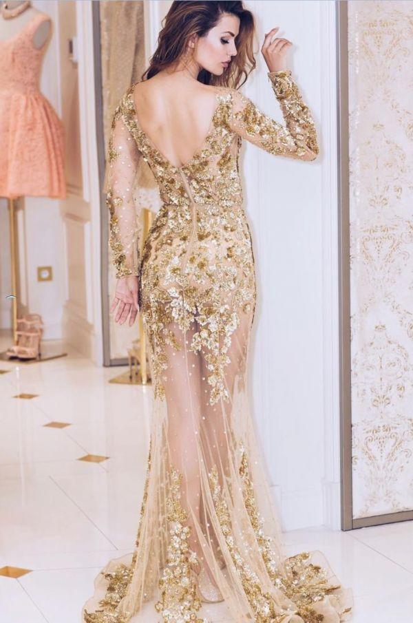 Платье прозрачное золотое